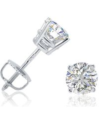 Amanda Rose Collection - Ags Certified 1ct Tw Round Diamond Stud Earrings In 14k White Gold With Screw Backs - Lyst