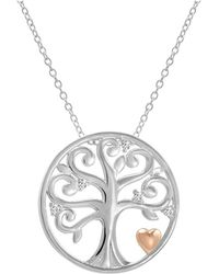 Amanda Rose Collection - Sterling Silver Diamond Accented Tree Of Life Pendant-necklace - Lyst