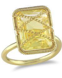 Catherine Malandrino - Emerald Cut Citrine Crisscross Ring - Lyst