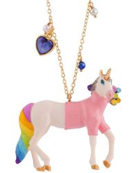 Les Nereides - Unique Unicorn Dressed In Pink With Charms Long Necklace - Lyst