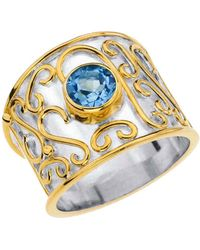 Jewelista - Sterling Silver Cigar Band Ring With Blue Topaz - Lyst