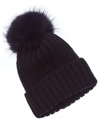 La Fiorentina - Knitted Hat With Raccoon Pom - Lyst