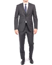 Luciano Barbera - Club Men's Slim Fit Wool Two Button Suit Black Grey - Lyst