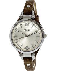 Fossil - Women's Georgia Es3060 Brown Calf Skin Analog Quartz Fashion Watch - Lyst