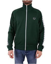 Fred Perry - Men's Green Polyester Sweatshirt - Lyst