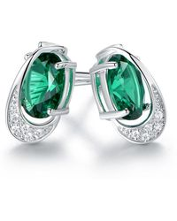 Peermont - 18k White Gold Plated Nano Emerald & Cubic Zirconia Oval Orbit Stud Earrings - Lyst