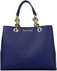 Suzy Levian - Saffiano Faux Leather Chain Strap Satchel Handbag - Lyst