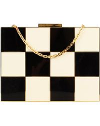 Valentino - Black And Ivory Checkered Enamel Box Minaudiere Bag - Lyst