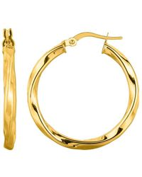 Jewelry Affairs - 14k Yellow Gold Shiny Round Tube Italian Twists Hoop Earring, Diameter 25mm - Lyst