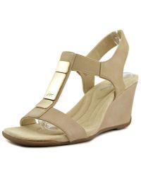 Ak Anne Klein - Loona Women Open Toe Synthetic Wedge Sandal - Lyst