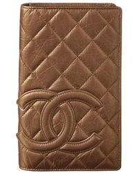 Chanel - Gold Quilted Cambon Lambskin Leather Wallet - Lyst