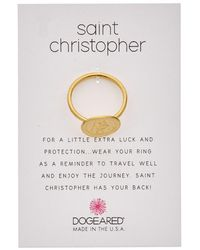 Dogeared - Saint Christopher 14k Over Silver Ring - Lyst