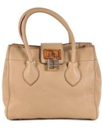 Roberto Cavalli - Light Brown Grained Leather Satchel Top Handle Bag - Lyst