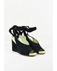 """Derek Lam - Black & Green Suede Ankle Wrap """"maude"""" Wedge Sandals - Lyst"""