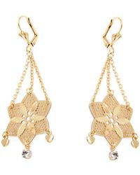 Peermont - Gold & Crystal Flower Earrings Made With Swarovski Elements - Lyst