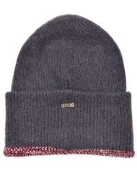 Roberto Cavalli - Grey Solid Mohair Wool Blend Chunky Knitted Hat - Lyst