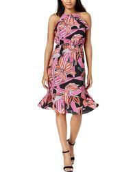 Maison Jules - Womens Halter Printed Flounce Dress - Lyst