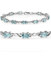 Amanda Rose Collection - Sky Blue Topaz Infinity Tennis Bracelet Set In Sterling Silver ( 7 1/4 Inches) - Lyst