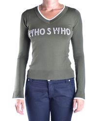 Who*s Who - Women's Green Cotton Jumper - Lyst