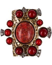 Roberto Cavalli - Gold Red Marble Stone Swarovski Embellished Rings - Lyst