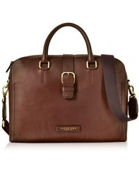 The Bridge - Dark Brown Leather Double Handle Briefcase W/detachable Shoulder Strap - Lyst
