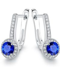 Peermont - 18k White Gold Plated Swarovski Crystal & Blue Sapphire Spinel Huggie-earrings - Lyst