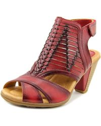 Earth - Libra Women Open-toe Leather Red Slingback Sandal - Lyst