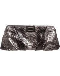 Judith Leiber - Metallic Grey Python Pleated Jewelled Art Deco Clutch Bag - Lyst