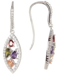 Adornia - Sterling Silver And Crystal Marquis Shaped Multi Color Earrings - Lyst