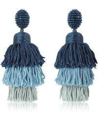 Oscar de la Renta - Women's Blue Other Materials Earrings - Lyst