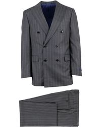 Pal Zileri - Heather Grey Wool Double-breasted Suit - Lyst