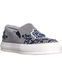 Nine West - Onyeka Round Toe Slip On Sneakers, Black/white - Lyst