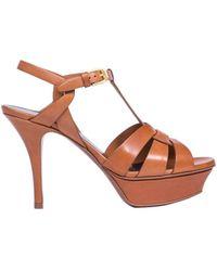 Saint Laurent - Women's Brown Leather Sandals - Lyst
