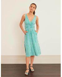 Boden Effie Jersey Dress Rich Emerald, Petal Arrow - Green