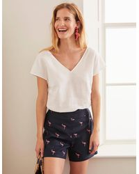 Boden Flamingo Embroidered Shorts - Blue