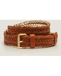 Boden Woven Buckle Belt Tan - Brown