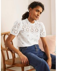 Boden Altheda Broderie Top - White