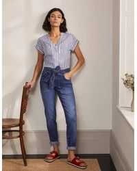 Boden Patch Pocket Girlfriend Jeans Mid Vintage , Mid Vintage - Blue