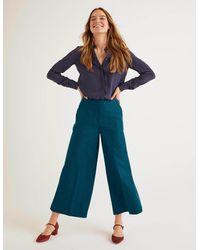 Boden British Tweed Culottes Teal Herringbone - Blue