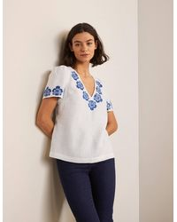 Boden Heidi Top Pineapple Embroidery - White
