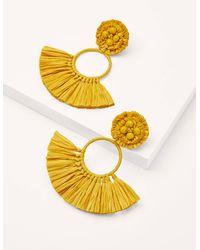 Boden Raffia Tassel Ring Earrings Daffodil - Yellow