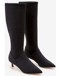 Boden Kitten Heel Stretch Boots - Black