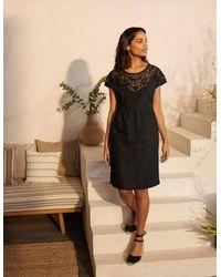 Boden Fleur Embroidered Linen Dress - Black
