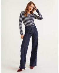 Boden Front Line Wide Leg Jeans Indigo - Blue