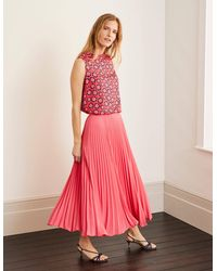 Boden Kristen Pleated Skirt Bright Lia - Pink