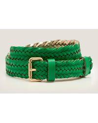Boden Woven Leather Belt - Green