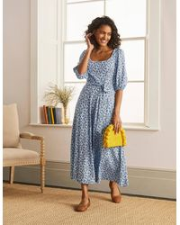 Boden Sophie Jersey Midi Dress Surf, Cherry Blossom - Blue