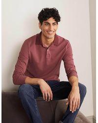 Boden Long Sleeve Piqué Polo Rosewood - Pink