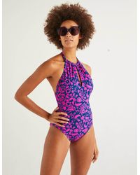Boden Liguria High Neck Swimsuit Pop Pansy, Tropical Retreat - Pink
