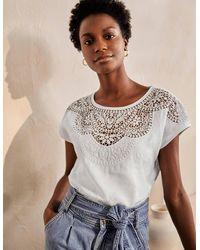 Boden Fleur Embroidered Linen Top - White